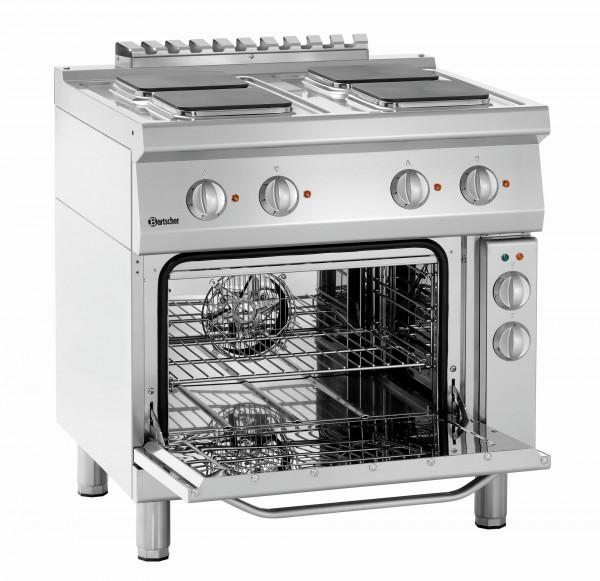 Bartscher Serie 700 4 Platten Elektroherd mit eckigen Kochplatten und Elektro-Umluftbackofen 1/1 GN