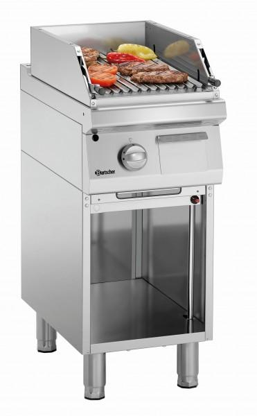 Bartscher Serie 700 Gas-Lavasteingrill klein mit offenem Unterbau